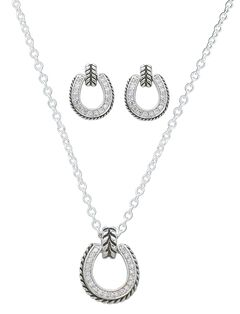Montana Silversmiths Cubic Zirconia Roped Edge Horseshoe Necklace & Earrings Set, , hi-res