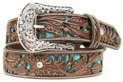 Ariat Tooled Turquoise Leather Inlay Belt, , hi-res
