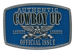 Montana Silversmiths Men's Blue Cowboy Up Official Issue Buckle , , hi-res