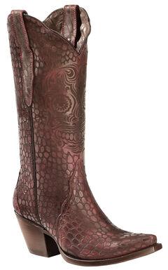 Ariat Red Croc Print Katrina Cowgirl Boots - Snip Toe , , hi-res