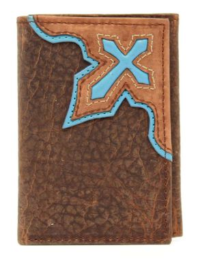 Nocona Trifold Bold Cross Wallet, Brown, hi-res