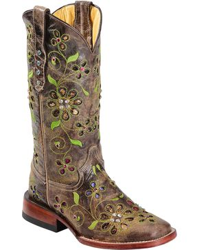 Ferrini Blossom Sequin Inlay Cowgirl Boots - Square Toe, Chocolate, hi-res