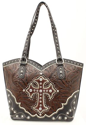 Blazin Roxx Boot Top Cross Overlay Tooled Tote Bag, Black, hi-res
