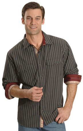 Scully Black Striped Western Shirt, Black, hi-res