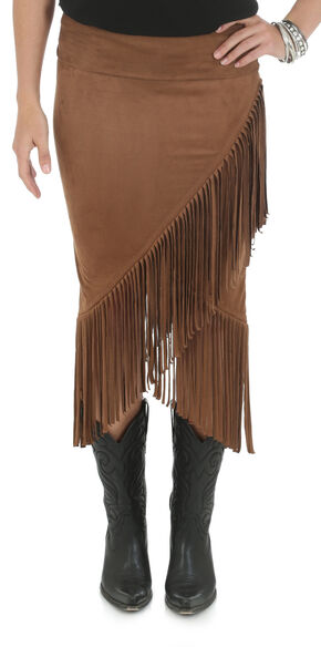 Wrangler Rock 47 Women's Brown Skirt with Fringe Envelope Hem, Brown, hi-res