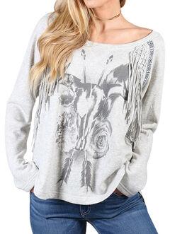Shyanne Women's Floral Skull Fringe Sweatshirt, , hi-res