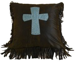 HiEnd Accents Cheyenne Turquoise  Cross Pillow, , hi-res