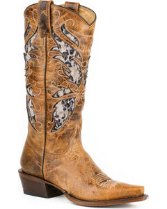 Roper Leopard Lace Inlay Cowgirl Boots - Snip Toe, , hi-res