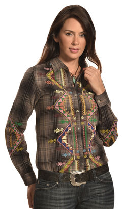 Pink Cattlelac Women's Plaid Embroidered Western Shirt , , hi-res