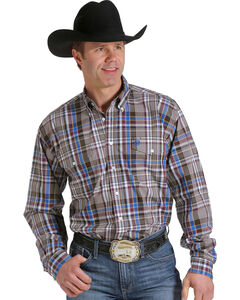Cinch Men's Tan, Wine and Blue Plaid Double Pocket Western Shirt , , hi-res