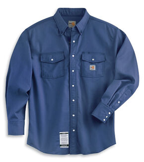 Carhartt Flame Resistant Snap-Front Work Shirt, Royal, hi-res