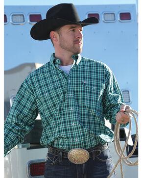 Cinch Men's Green Plaid Double Pocket Western Shirt, Green, hi-res