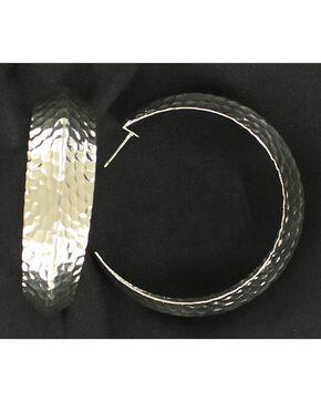 Blazin Roxx Hammered Hoop Earrings, Silver, hi-res