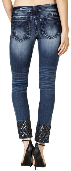 Miss Me Women's Dark Wash Embroidered Ankle Skinny Jeans, , hi-res