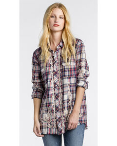 MM Vintage Women's White Floral Embroidered Plaid Shirt , , hi-res