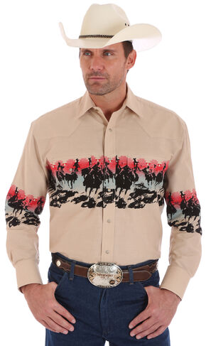Wrangler Men's Checotah Border Print Long Sleeve Shirt , Khaki, hi-res
