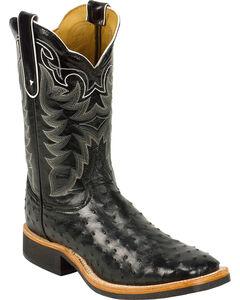 Tony Lama Black Full Quill Ostrich Cowboy Boots - Square Toe, , hi-res