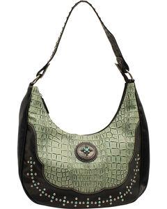 Blazin Roxx Women's Turquoise Croc Print Shoulder Bag, , hi-res