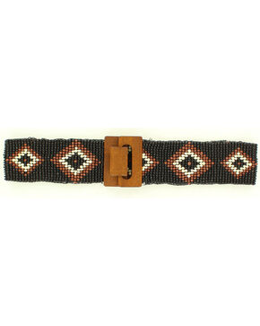 Nocona Diamond Beaded Stretch Belt, Black, hi-res