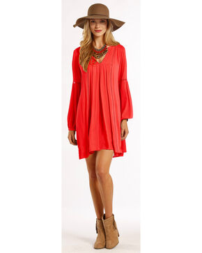 Rock & Roll Cowgirl Women's Coral V-Neck Hi-Lo Hem Pleated Dress, Coral, hi-res