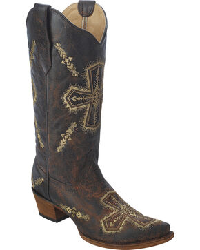 Circle G Women's Cross Embroidered Cowgirl Boots - Snip Toe, Brown, hi-res