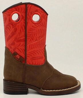 Double Barrel Boys' Sam Zip Boots - Square Toe, Brown, hi-res
