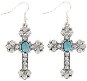 Shyanne Women's Turquoise Stone Cross Earrings, Silver, hi-res
