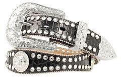 Blazin Roxx Scalloped Croc Print Leather Belt, , hi-res