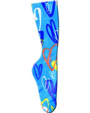Zocks Girls' Blue Heart Riding Socks, Turquoise, hi-res