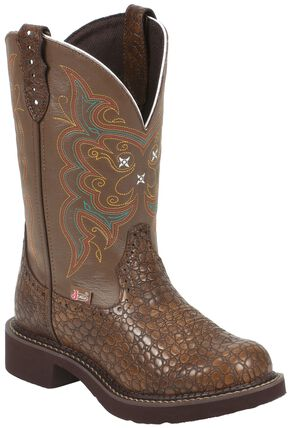 Justin Gypsy Pearl Print Cowgirl Boots - Round Toe, Brown, hi-res