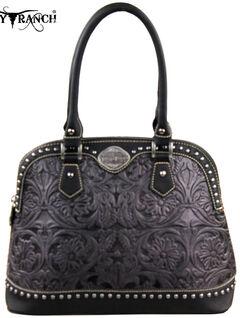 Montana West Trinity Ranch Grey Tooled Design Handbag, , hi-res
