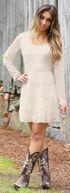 Wrangler Women's Cream Scoop Neck Crochet Back Dress, Cream, hi-res