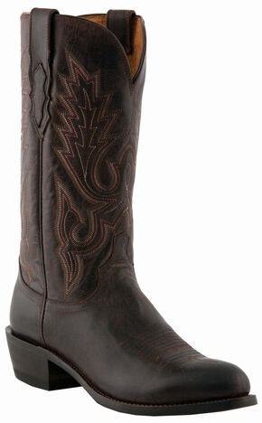 Lucchese Handcrafted 1883 Madras Goat Cowboy Boots - Round Toe, Chocolate, hi-res