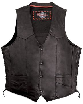 Milwaukee Motorcycle Classic Leather Vest - XL, Black, hi-res