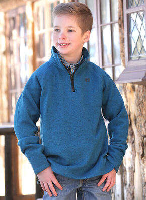 Cinch Boys' Blue Logo Fleece Pullover , Med Blue, hi-res