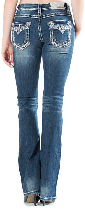 Grace in LA Medium Wash Floral Flap Pocket Bootcut Jeans, Indigo, hi-res
