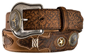 Tony Lama Western Pride Leather Belt, Brown, hi-res