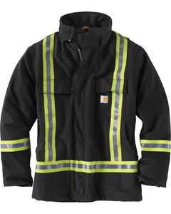 Carhartt Men's Black High-Visibility Striped Duck Traditional Coat, , hi-res