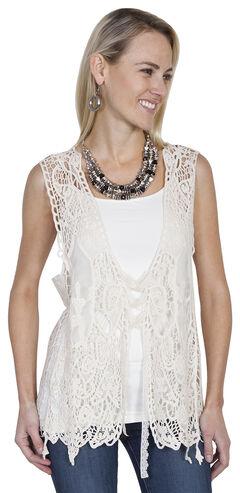 Scully Honey Creek Lace-Up Front Crochet Vest, , hi-res