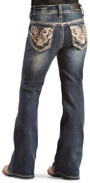 Grace in L.A. Girls' Gold Embellished Bootcut Jeans - 7-16, Denim, hi-res