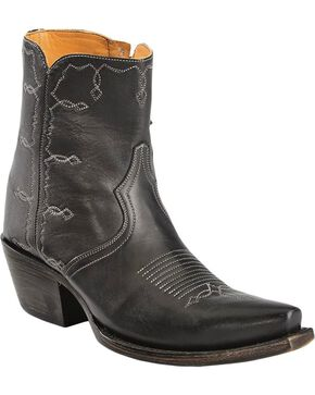 Lucchese Handcrafted 1883 Rhiannon Side-Zip Shootie, Black, hi-res