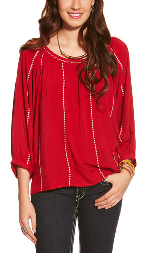 Ariat Women's Red Ali Challis Top, Red, hi-res