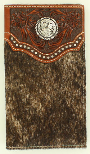 Ariat Calf Hair Concho Rodeo Wallet, Brown, hi-res