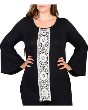 Forgotten Grace Women's Center Lace Long Sleeve Top - Plus, Black, hi-res