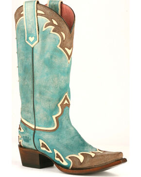 Junk Gypsy by Lane Women's Turquoise Back 40 Western Boots - Snip Toe , Turquoise, hi-res