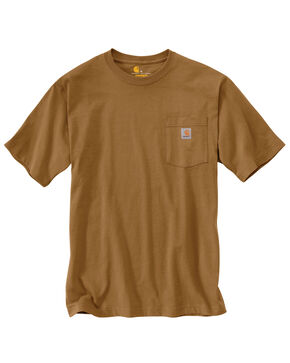 Carhartt Short Sleeve Pocket Work T-Shirt - Big & Tall, Brown, hi-res