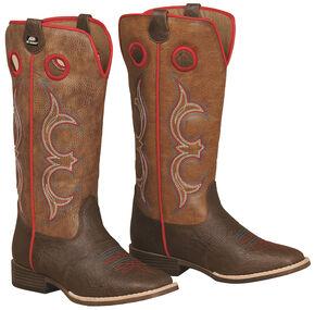 Double Barrel Boys' Kolter Zip Cowboy Boots - Square Toe , Brown, hi-res