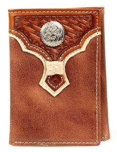 Nocona Rawhide Laced Concho Overlay Tri-fold Wallet, , hi-res