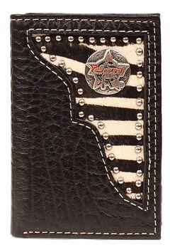 PBR Zebra Print Hair-on Hide Concho Tri-fold Wallet, , hi-res