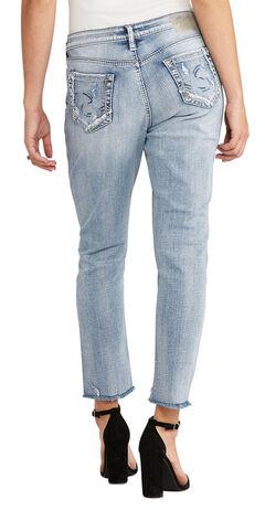 Silver Women's Light Indigo Loose Boyfriend Jeans - Plus Size, , hi-res